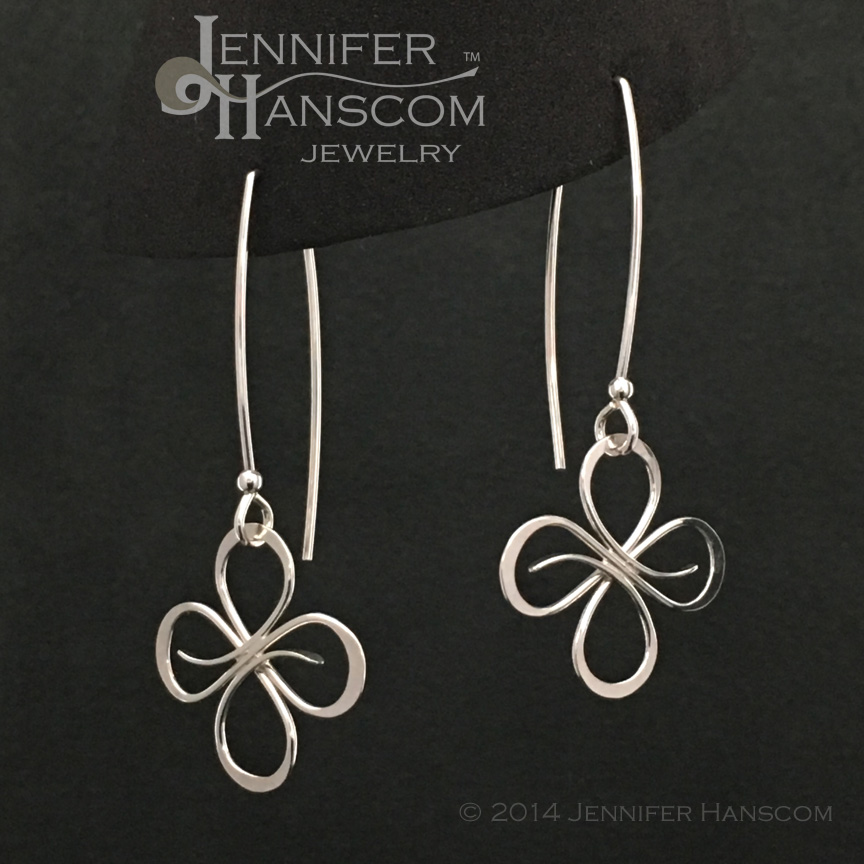 Quad-Flourish Link Earrings on Square Ear Wires