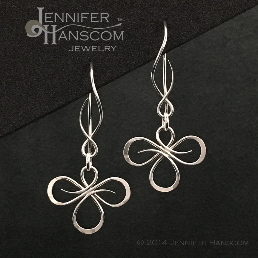 Tri-Flourish Link Earrings on Balance Ear Wires
