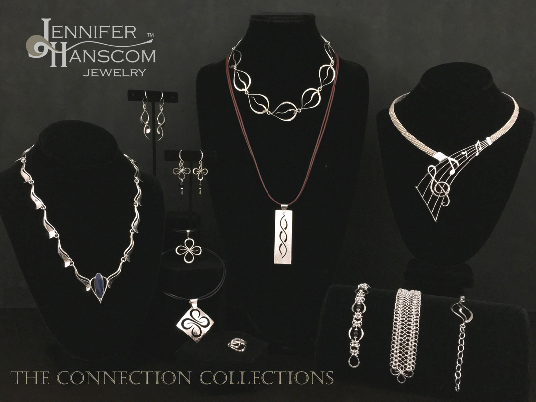 Group photo of various pieces of jewelry from The Connection Collections