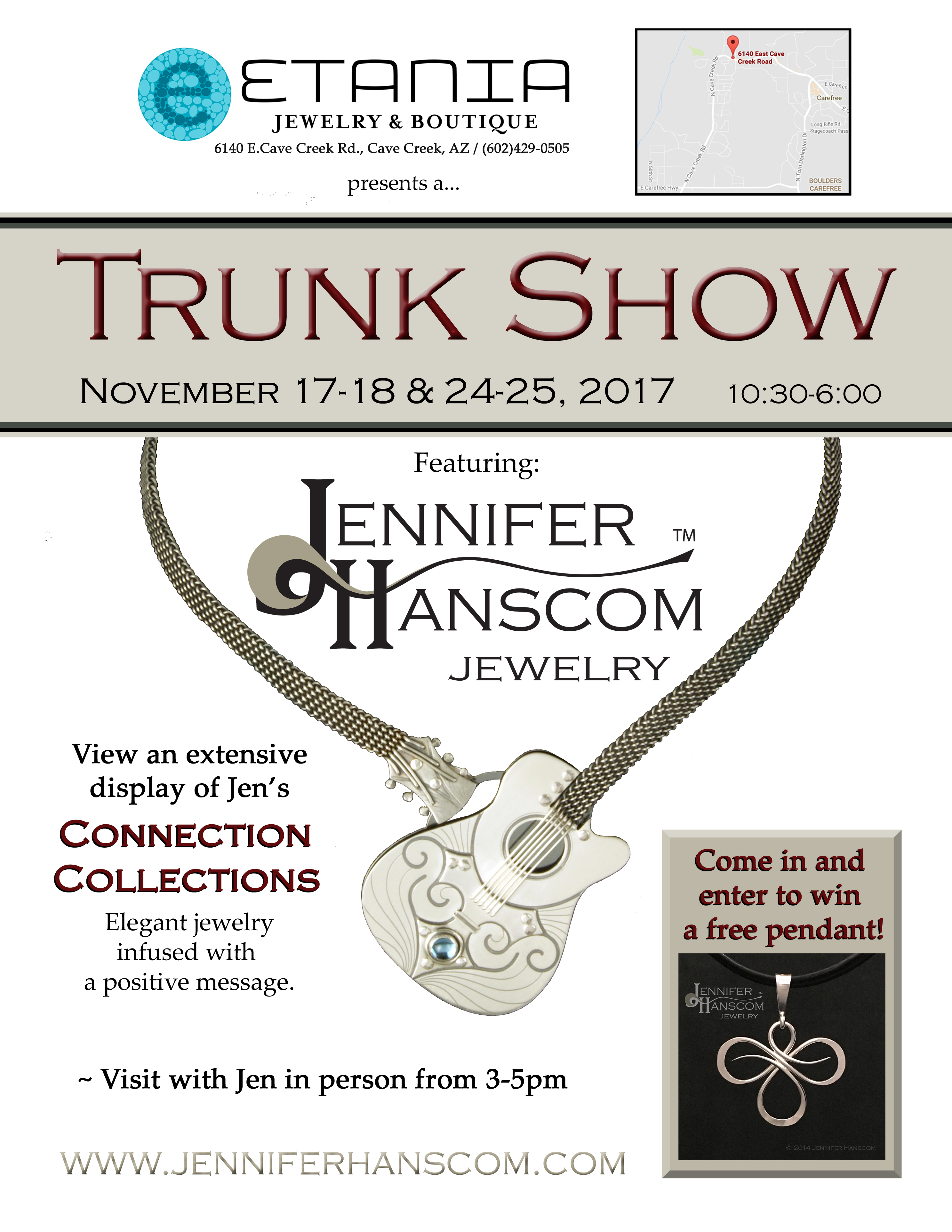 Flyer for Trunk Show at Etania Jewelry & Boutique