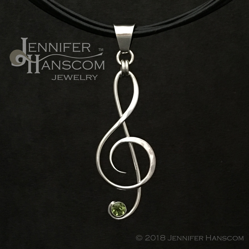 Large G-Clef Pendant with Peridot