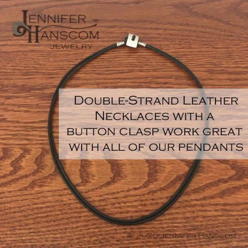 Quality-made 2-strand leather necklace laying flat with description overlay