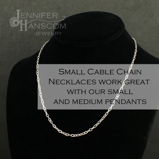 Small silver cable chain necklace on form with description overlay