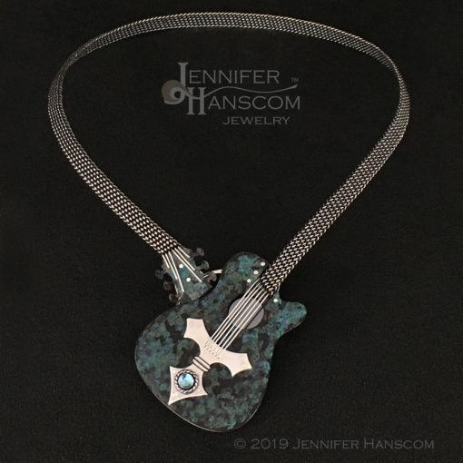 Hand-woven blue guitar necklace