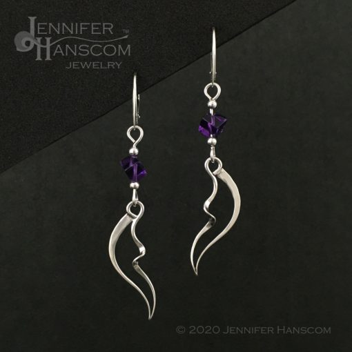 Wings and Waves Earrings with Amethyst Cube Beads front view