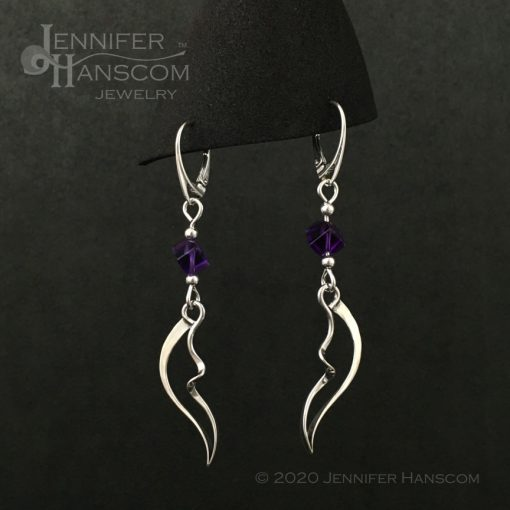 Wings and Waves Earrings with Amethyst Cube Beads shown as you wear them