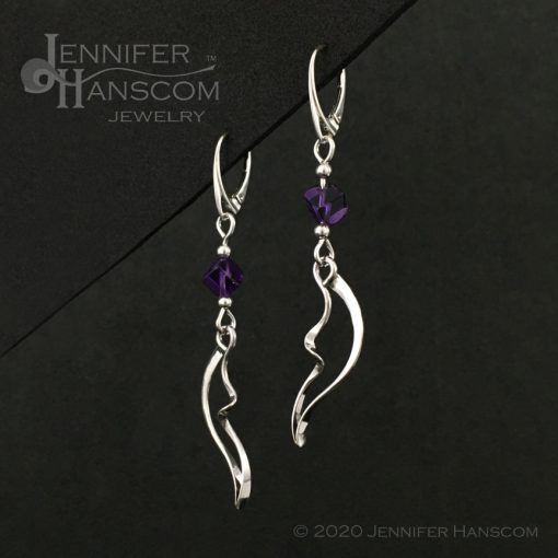 Wings and Waves Earrings with Amethyst Cube Beads profile view