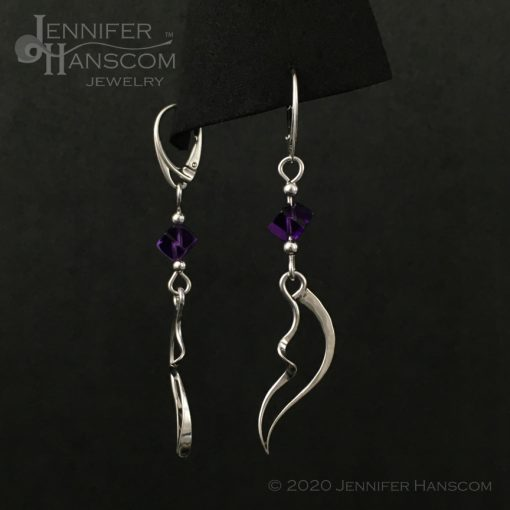 Wings and Waves Earrings with Amethyst Cube Beads front and side view