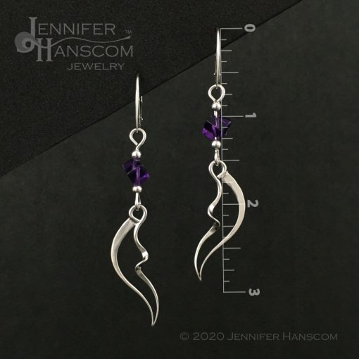 Wings and Waves Earrings with Amethyst Cube Beads includes measurements