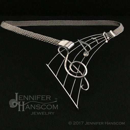Hand-woven silver Musical Staff Necklace
