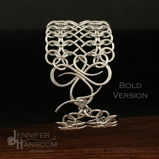 Tri-Flourish Bold Bracelet with Infinity Link Chain - clasp on form