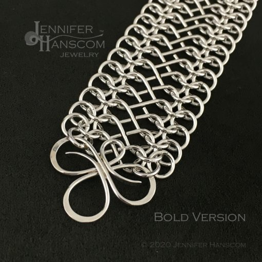Tri-Flourish Bold Bracelet with Infinity Link Chain - close-up