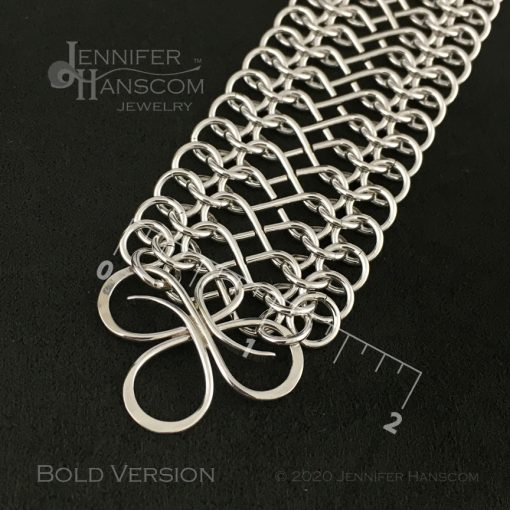 Tri-Flourish Bold Bracelet with Infinity Link Chain - close-up with measurements