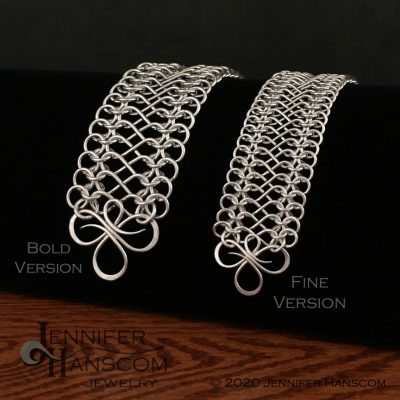 Tri-Flourish Bracelets with Infinity Link Chain -side by side size comparison