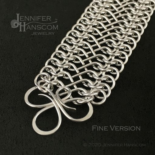 Tri-Flourish Fine Bracelet with Infinity Link Chain - close-up