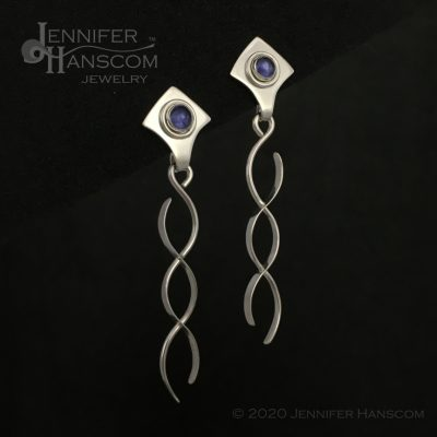 Crossing Paths Earrings with Iolite posts- profile view 1