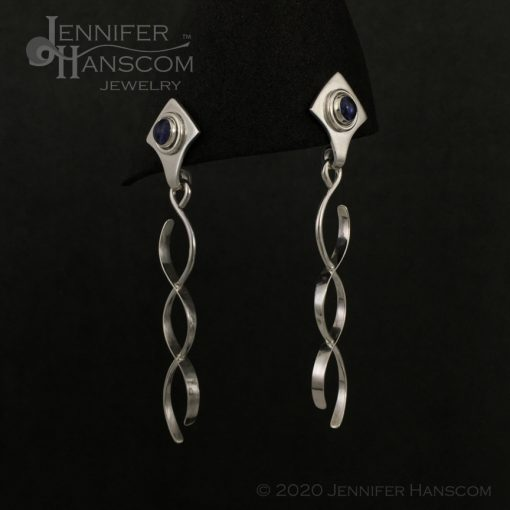 Crossing Paths Earrings with Iolite posts- profile view 2