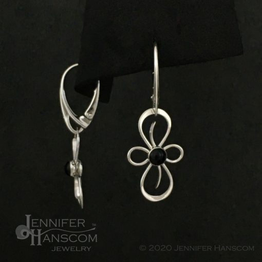 Flourish Earrings on lever-back ear wires with onyx - front and side view