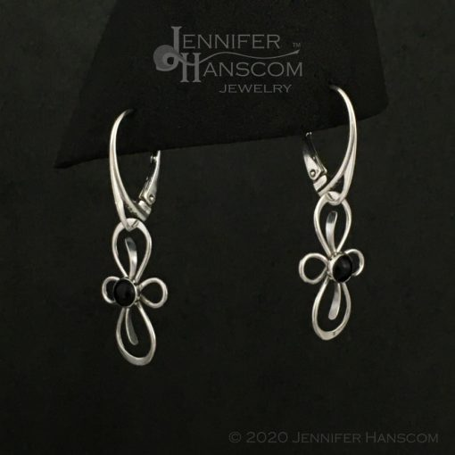 Flourish Earrings on lever-back ear wires with onyx - profile view 1