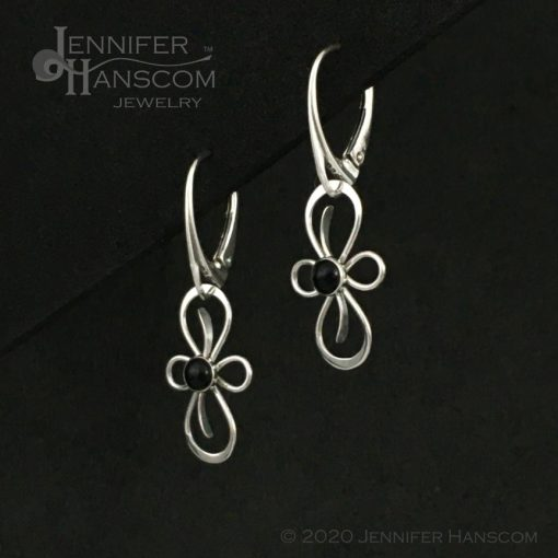 Flourish Earrings on lever-back ear wires with onyx - profile view 2