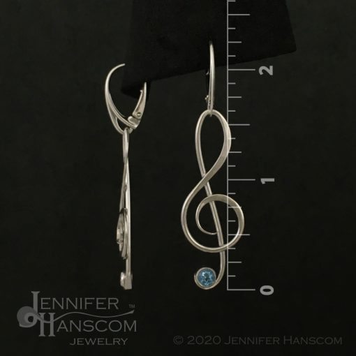 Large G-Clef Earrings on lever-back ear wires with faceted blue topaz - front and side view with measurements