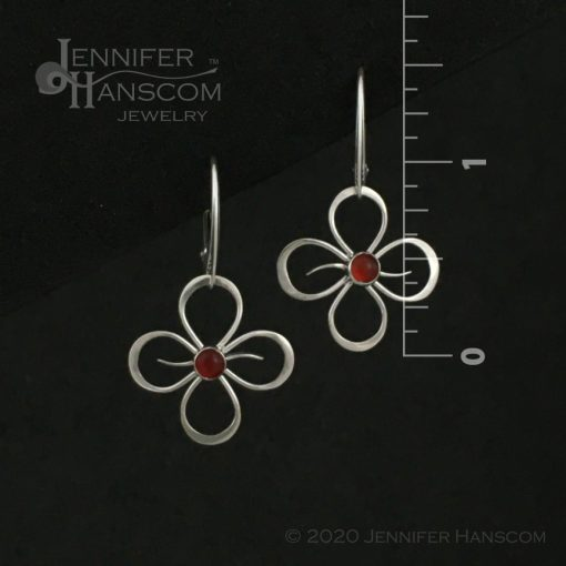 Quad-Flourish Earrings with Carnelian on Lever-back Ear Wires - front view with measurements