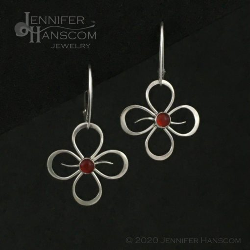 Quad-Flourish Earrings with Carnelian on Lever-back Ear Wires - front view