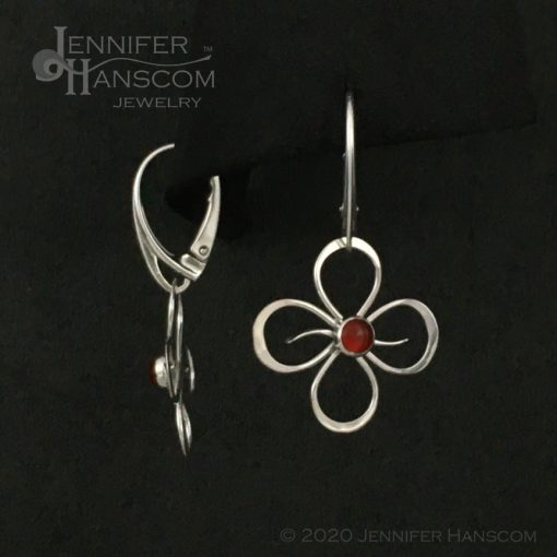 Quad-Flourish Earrings with Carnelian on Lever-back Ear Wires - front and side view