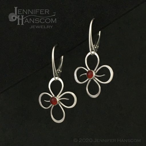 Quad-Flourish Earrings with Carnelian on Lever-back Ear Wires - profile view 2