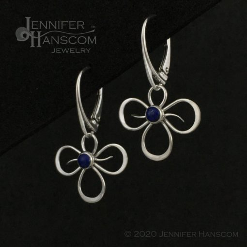 Tri-Flourish Earrings on lever-back ear wires with lapis - profile view