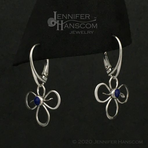 Tri-Flourish Earrings on lever-back ear wires with lapis - profile view 2