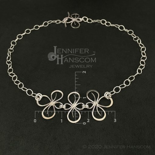 Bold sterling silver Flourish Link Necklace flat with measurements