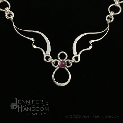 Wings and Waves Angel Necklace with Rhodolite Garnet - close-up