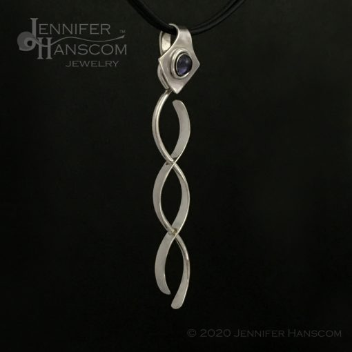 Large Crossing Paths Pendant with Iolite Bail- profile view