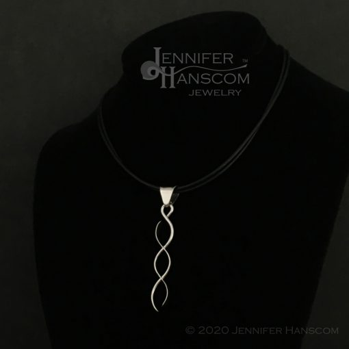 Sterling Silver Crossing Paths Pendant with large bail- shown on neck form view 2