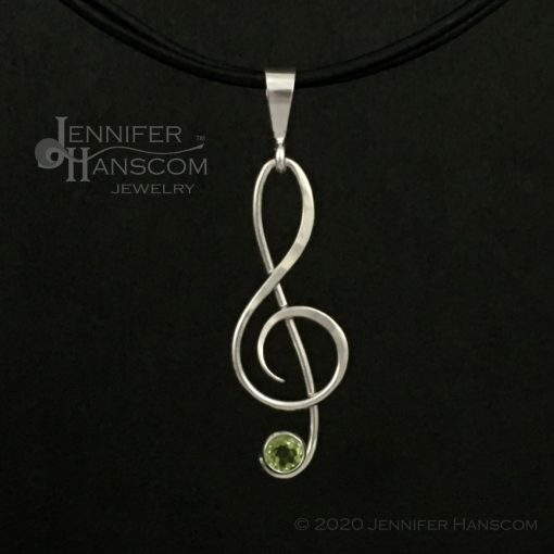 Small G-Clef Pendant with Peridot - front view