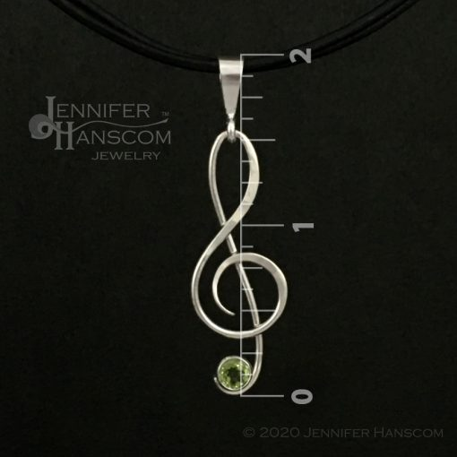 Small G-Clef Pendant with Peridot - front view with measurements