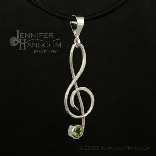 Small G-Clef Pendant with Peridot - profile view 2