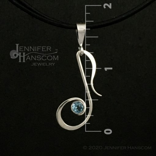 Musical Note Pendant with Blue topaz - front view with measurements