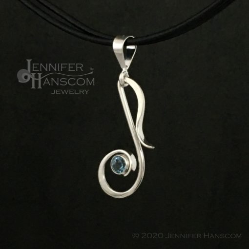 Musical Note Pendant with Blue topaz - profile view 2