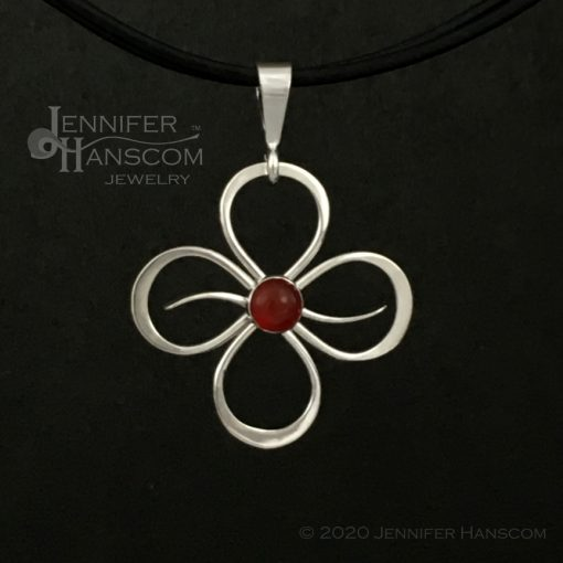 Small Quad-Flourish Pendant with Carnelian - front view