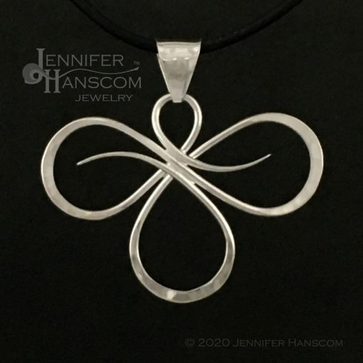 Tri-Flourish hand-made silver wire Pendant - Large -front view