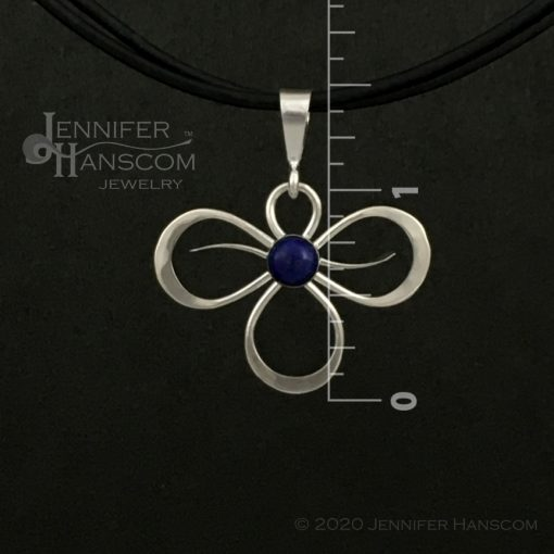 Small Tri-Flourish Pendant with Lapis - front view with measurements