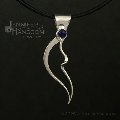 Medium Wings and Waves Pendant with Lapis-front view