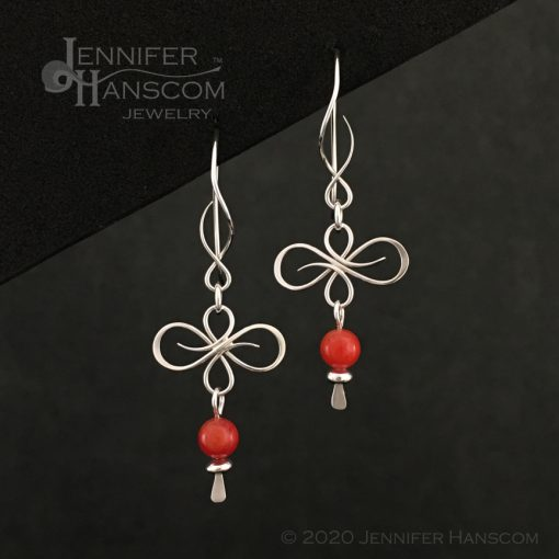 Flourish Earrings on Balance ear wires with a coral bead dangle- front view