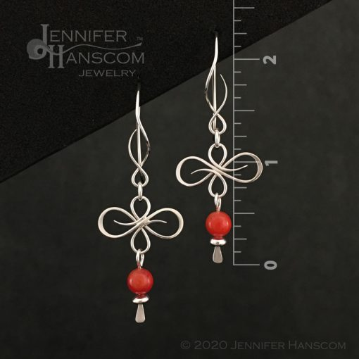 Flourish Earrings on Balance ear wires with a coral bead dangle- front view with measurements