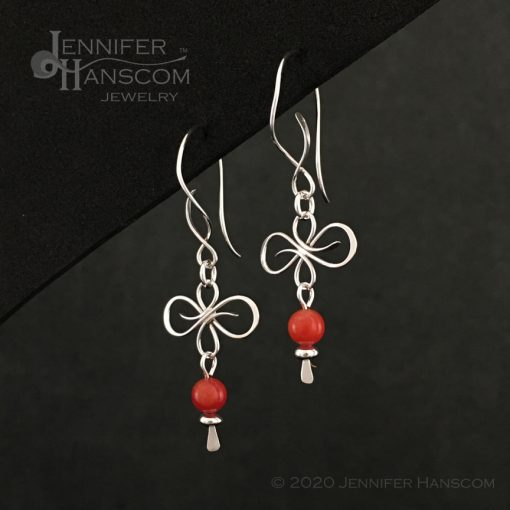 Flourish Earrings on Balance ear wires with a coral bead dangle- profile view 1