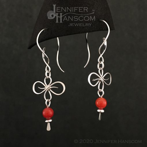 Flourish Earrings on Balance ear wires with a coral bead dangle- profile view 2