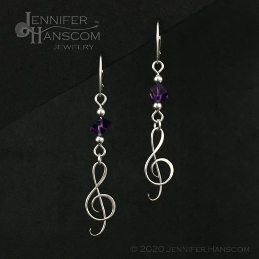 Amethyst G-Clef Earrings on lever-back ear wires - front view