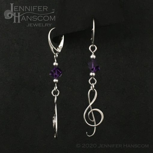 Amethyst G-Clef Earrings on lever-back ear wires - front and side view